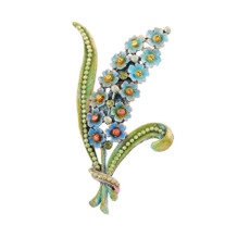 Michal Negrin Hand Painted Hyacinth Brooch