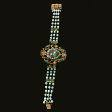 Michal Negrin Cameo Jeweled Bracelet Crystal Wrist Watch