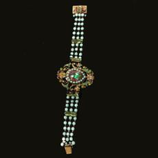 Michal Negrin Cameo Jeweled Bracelet Crystal Wrist Watch