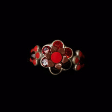 Michal Negrin Silver 925 Swarovski Red Crystal Ring