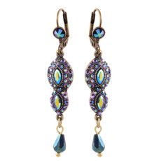 Michal Negrin Sharon French Wire Swarovski Crystals Earrings