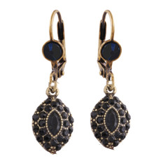 Michal Negrin Carina Black French Wire  Earrings