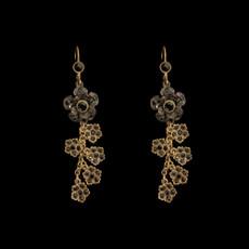 Michal Negrin Hanging Sparkling Swarovski Crystals Flower Earrings