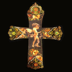Michal Negrin Cupid God of Love Swarovski Crystals Wall Cross