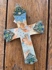 Michal Negrin Vintage Faith Angeles Roses Wall Cross