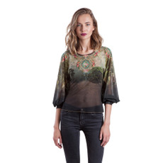 Michal Negrin Aviana Printed Tull Fabric Shirt