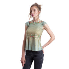 Michal Negrin Embry  Printed Lycra Lace Shirt
