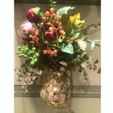 Michal Negrin Victorian Rose Flowers Porcelain Vase