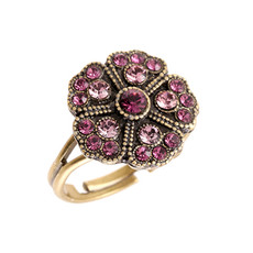 Michal Negrin Jade Swarovski crystals Flower Ring