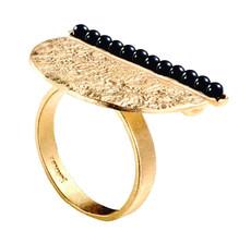 Joidart Inspirada Large Gold Ring Black Size 7