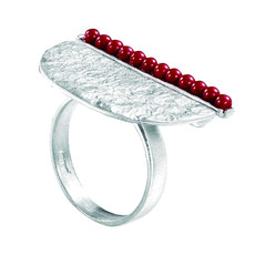Joidart Inspirada Large Silver Ring Red  Size 8
