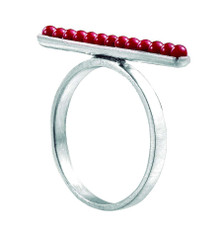 Joidart Inspirada Small Silver Ring Red Size 8