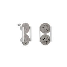 Joidart Terrazzo Double Stud Earrings Grey Silver
