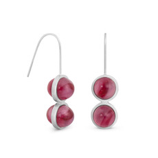 Joidart Anais Wire Red Silver Earrings