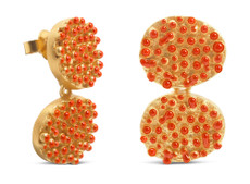 Joidart Estiu Small Double Earrings Red Gold