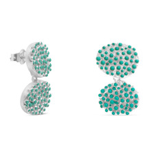 Joidart Estiu Small Double Earrings Blue Silver