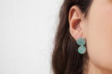 Joidart Estiu Small Double Earrings Blue Silver