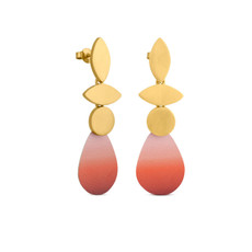 Joidart Captard 3 Piece Drop Gold Earrings Red