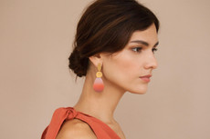 Joidart Captard 2 Piece Large Drop Gold Earrings Red
