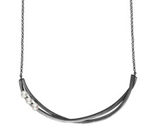 Joidart Lorna Pearl Bar Necklace Blackened Silver