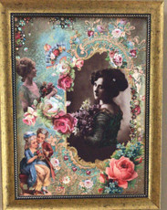 Michal Negrin La Fleur Swarovski Crystals Meet My Lady Picture with Gold Frame