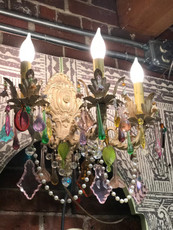 Michal Negrin 3 Candle Style Light Swarovski Crystals Multi Color Chandlers