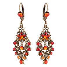 Michal Negrin Castle Red Orange French Wire Earrings
