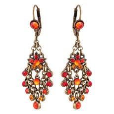 Michal Negrin Castle Red Orange French Wire Earrings
