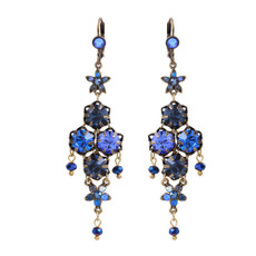 Michal Negrin Ingrid French Wire Royal Blue Swarovski Crystals Earrings