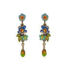 Michal Negrin Blue Painted Flower Earrings