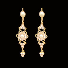Michal Negrin Pink Pearl French Wire Earrings