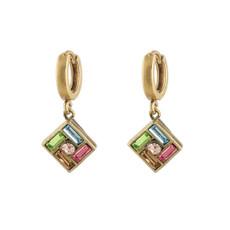 Michal Negrin Hoop Multi Colors Earrings