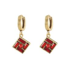 Michal Negrin Hoop Red Earrings