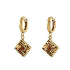 Michal Negrin Hoop Brown Earrings