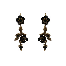 Michal Negrin Best Friend Black Flower Earrings