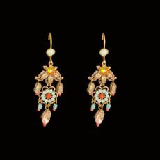 Michal Negrin Victorian Leaves Flower Dangle Earrings