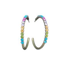 Michal Negrin Multi Color Swarovski Crystals Hoop Earrings