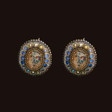 Michal Negrin Israeli Flag Lady Earrings