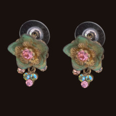 Michal Negrin Flower Sparkling Swarovski Crystals Earrings
