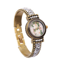 Michal Negrin Liz Jeweled White Crystal Hand Watch