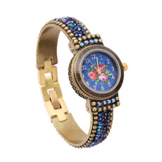 Michal Negrin Liz Jeweled Blue Crystal Hand Watch