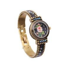 Michal Negrin Liz Jeweled Black Crystal Hand Watch