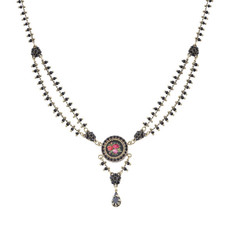 Michal Negrin Elizabeth Black Roses Necklace
