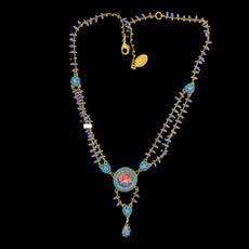 Michal Negrin Elizabeth Black Roses Flower Necklace