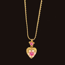 Michal Negrin Small Heart Pink Flower Locket Necklace