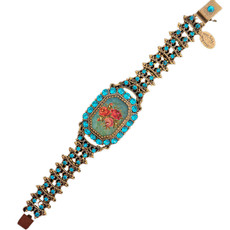 Michal Negrin Classic Printed Rose Turquoise Swarovski Crystals Bracelet