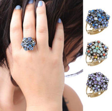 Michal Negrin Sparkling Flower Adjustable Ring