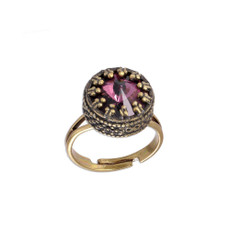 Michal Negrin Soft Pink Crown Swarovski Crystal Adjustable Ring