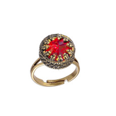 Michal Negrin Red Crown Swarovski Crystal Adjustable Ring