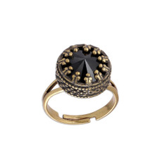 Michal Negrin Black Crown Swarovski Crystal Adjustable Ring